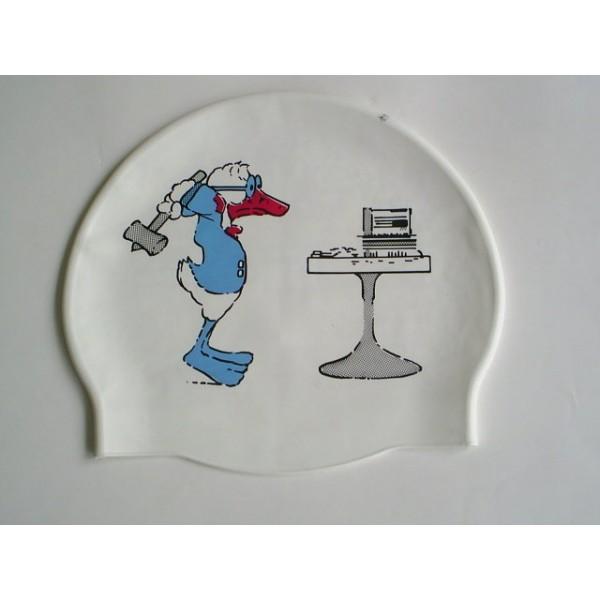 游泳帽-D6015 彩繪矽膠帽 100% 矽膠 -唐老鴨 台灣製